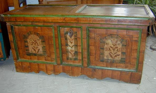 original bemalte barock truhe hohenlohe franken datiert 1784 mit